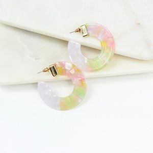 Multi Colored Acrylic Hoop Earrings